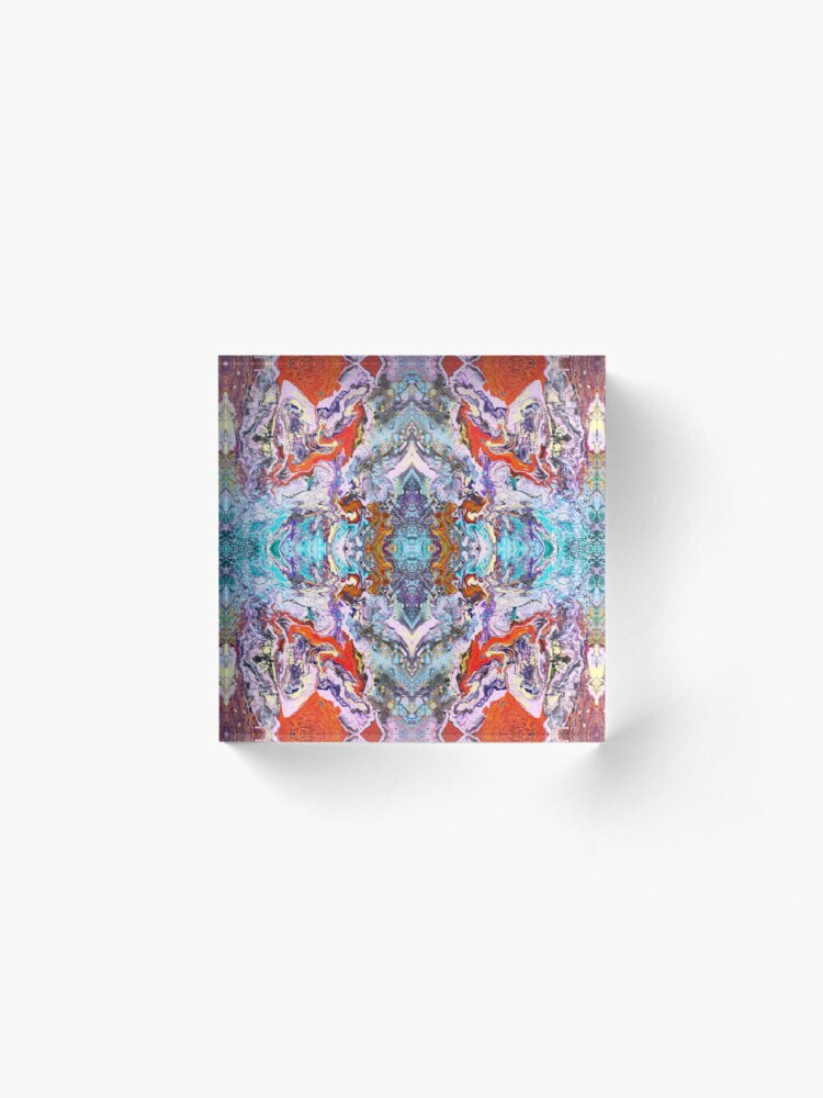 Alternate view of Fluid painting magic of love kaleidoscope Acrylic Block