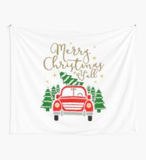 Vintage Red Truck with Christmas Trees & Merry Christmas Y'all Wall Tapestry
