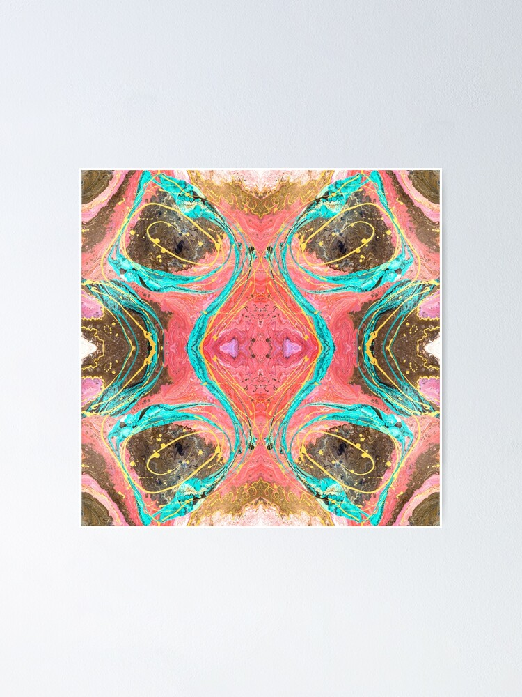 Alternate view of Fluid painting snake lair kaleidoscope Poster