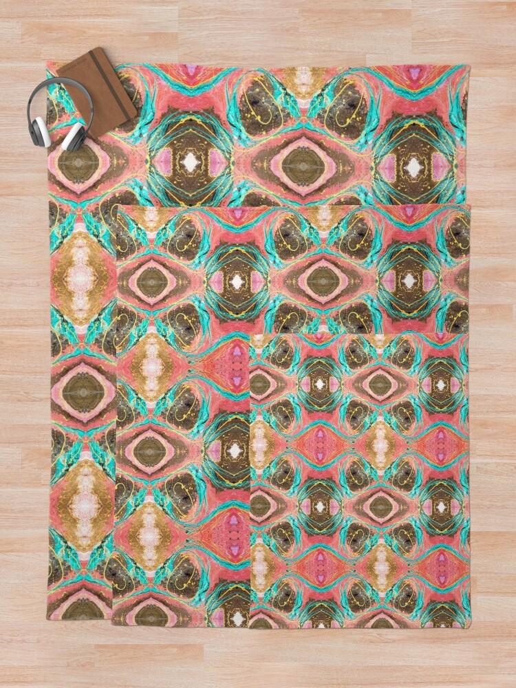Alternate view of Fluid painting snake lair kaleidoscope Throw Blanket