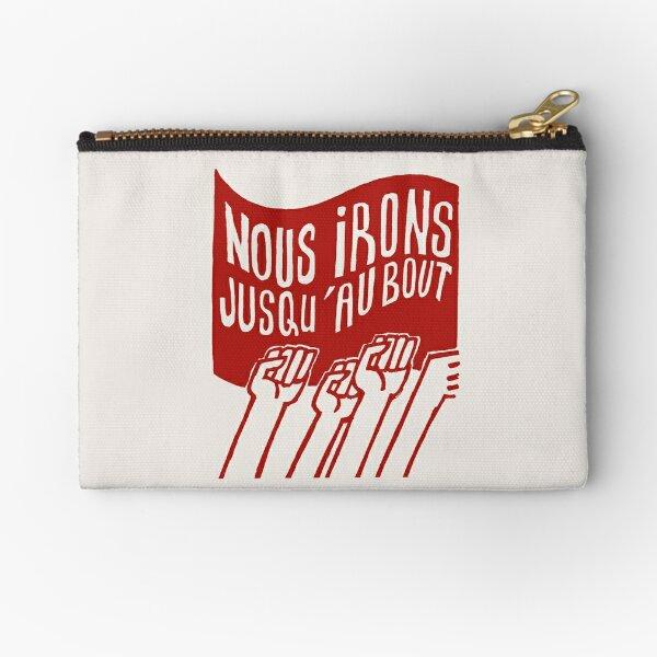 ! Paris Revolt, May 68: 'NOUS IRONS JUSQU'AU BOUT': The Original Brick Red on Bone Grey ! Zipper Pouch