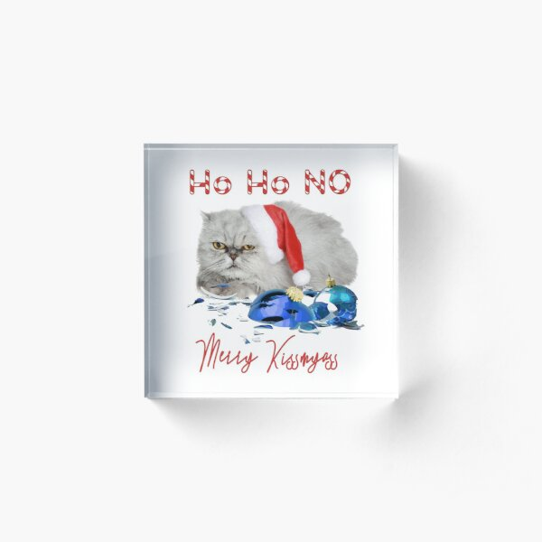 Funny Christmas Cat Merry Kissmyass Acrylic Block