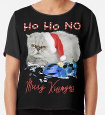 Funny Christmas Cat Merry Kissmyass Chiffon Top