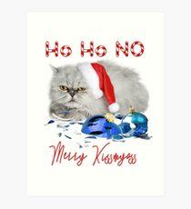 Funny Christmas Cat Merry Kissmyass Art Print