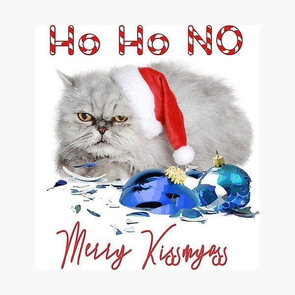 Funny Christmas Cat Merry Kissmyass Photographic Print