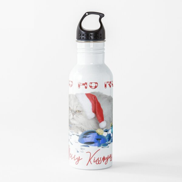 Funny Christmas Cat Merry Kissmyass Water Bottle
