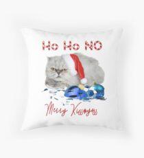 Funny Christmas Cat Merry Kissmyass Throw Pillow
