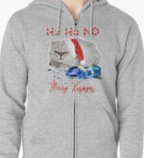 Funny Christmas Cat Merry Kissmyass Zipped Hoodie