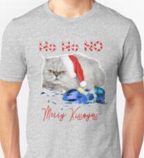 Funny Christmas Cat Merry Kissmyass Slim Fit T-Shirt