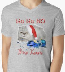 Funny Christmas Cat Merry Kissmyass V-Neck T-Shirt