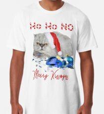 Funny Christmas Cat Merry Kissmyass Long T-Shirt
