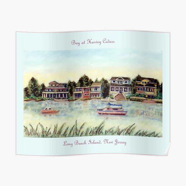 Bay at Harvey Cedars, Long Beach Island, New Jersey, Jersey Shore, from pastel painting by Pamela Parsons, harbor, fishing boats Poster