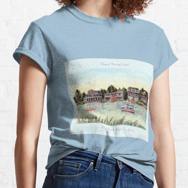 Bay at Harvey Cedars, Long Beach Island, New Jersey, Jersey Shore, from pastel painting by Pamela Parsons, harbor, fishing boats Classic T-Shirt