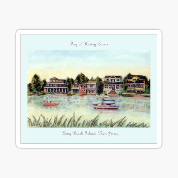 Bay at Harvey Cedars, Long Beach Island, New Jersey, Jersey Shore, from pastel painting by Pamela Parsons, harbor, fishing boats Sticker