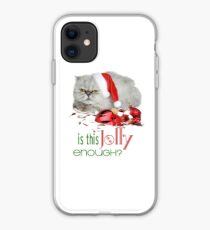 Funny Christmas Cat Jolly Enough iPhone Case