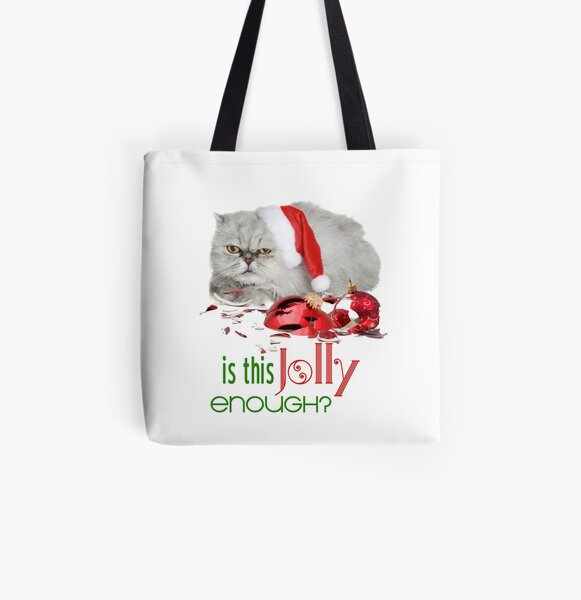 Funny Christmas Cat Jolly Enough All Over Print Tote Bag