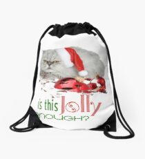 Funny Christmas Cat Jolly Enough Drawstring Bag