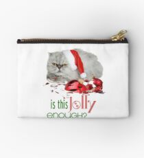 Funny Christmas Cat Jolly Enough Zipper Pouch
