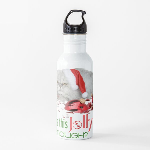 Funny Christmas Cat Jolly Enough Water Bottle