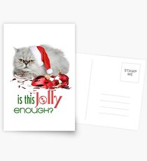 Funny Christmas Cat Jolly Enough Postcards