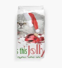 Funny Christmas Cat Jolly Enough Duvet Cover