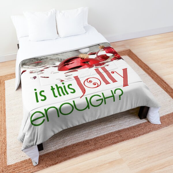 Funny Christmas Cat Jolly Enough Comforter