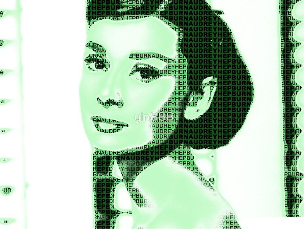 Audrey Hepburn Classic Portrait Green  by yin888