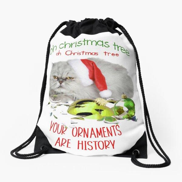 Funny Christmas Cat Oh Christmas Tree Drawstring Bag