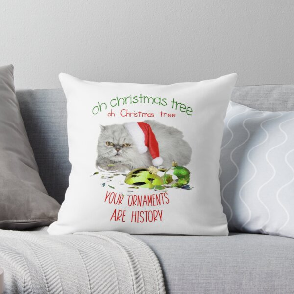 Funny Christmas Cat Oh Christmas Tree Throw Pillow