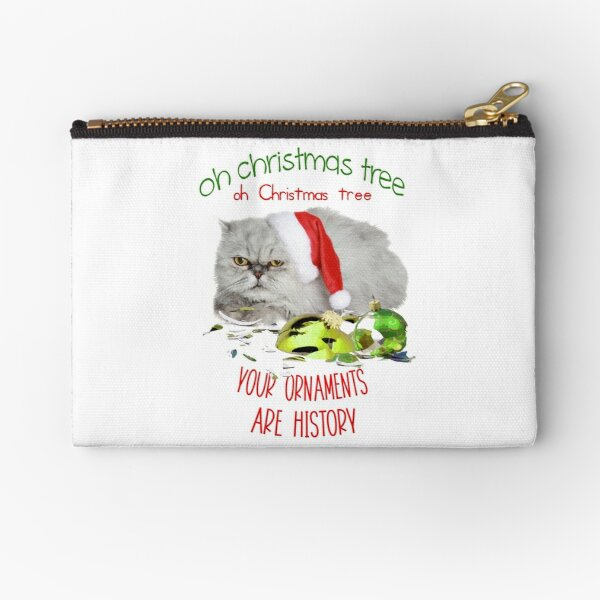 Funny Christmas Cat Oh Christmas Tree Zipper Pouch