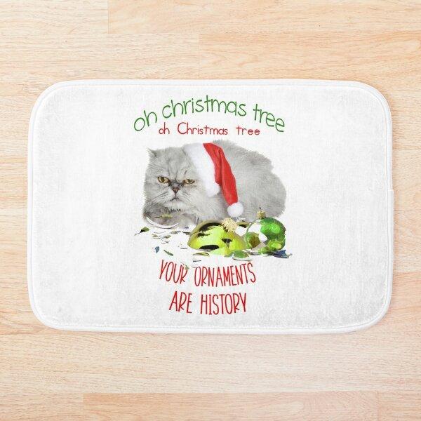 Funny Christmas Cat Oh Christmas Tree Bath Mat