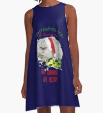Funny Christmas Cat Oh Christmas Tree A-Line Dress