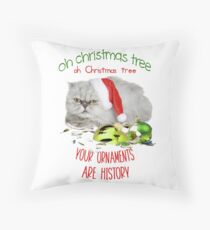 Funny Christmas Cat Oh Christmas Tree Floor Pillow