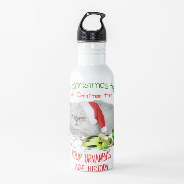 Funny Christmas Cat Oh Christmas Tree Water Bottle