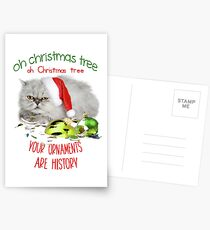 Funny Christmas Cat Oh Christmas Tree Postcards