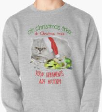 Funny Christmas Cat Oh Christmas Tree Pullover Sweatshirt