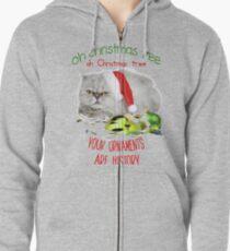 Funny Christmas Cat Oh Christmas Tree Zipped Hoodie