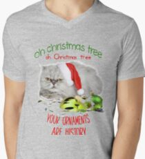 Funny Christmas Cat Oh Christmas Tree V-Neck T-Shirt