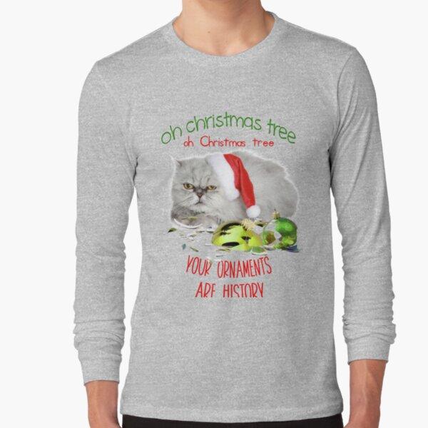 Funny Christmas Cat Oh Christmas Tree Long Sleeve T-Shirt