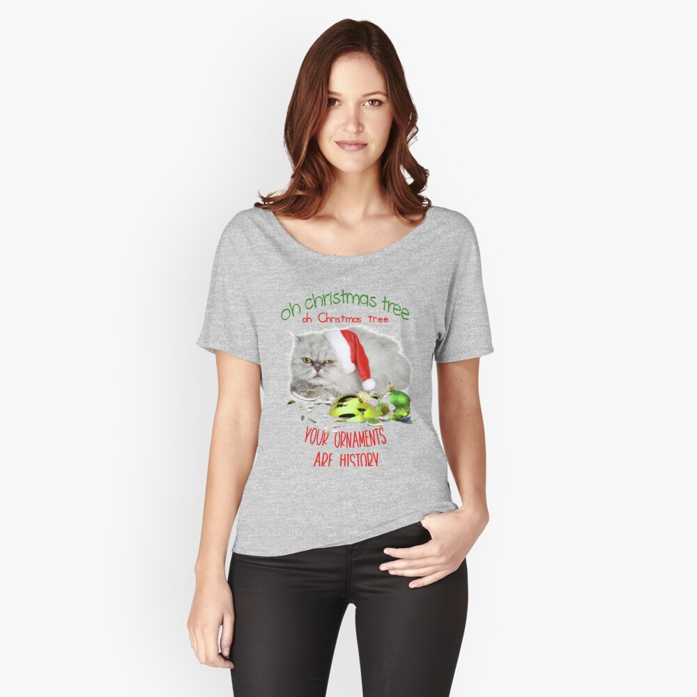 Funny Christmas Cat Oh Christmas Tree Relaxed Fit T-Shirt