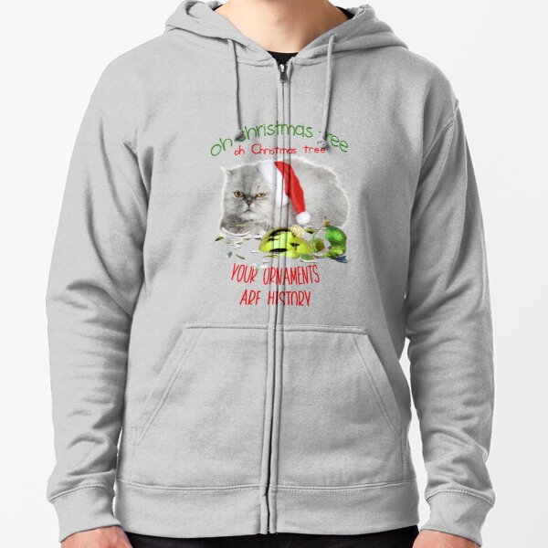 Funny Christmas Cat Oh Christmas Tree Zipped Hoodie