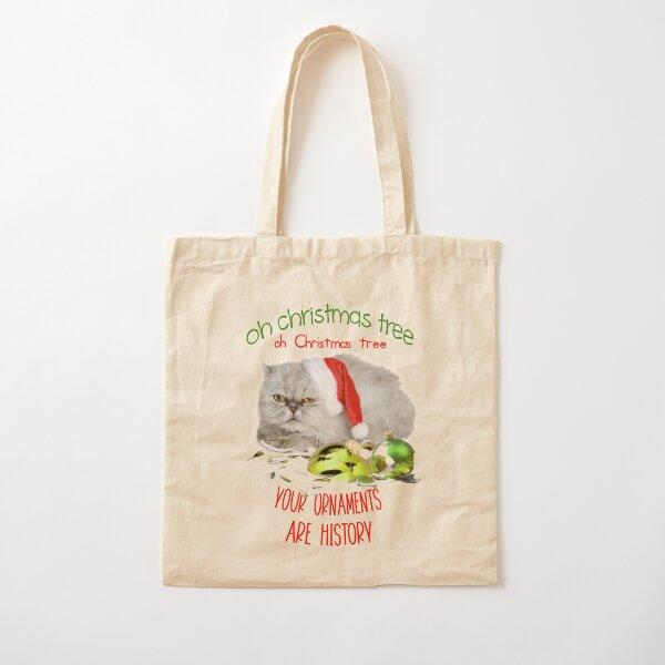Funny Christmas Cat Oh Christmas Tree Cotton Tote Bag