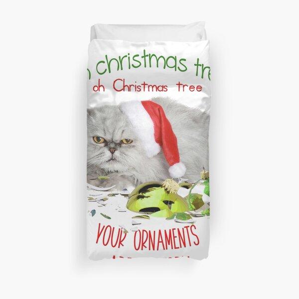 Funny Christmas Cat Oh Christmas Tree Duvet Cover