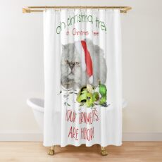 Funny Christmas Cat Oh Christmas Tree Shower Curtain