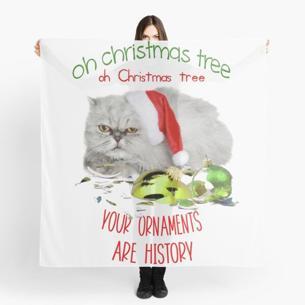 Funny Christmas Cat Oh Christmas Tree Scarf