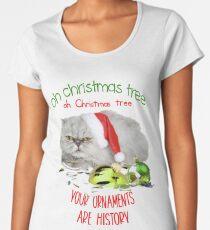 Funny Christmas Cat Oh Christmas Tree Premium Scoop T-Shirt