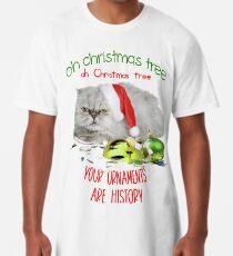 Funny Christmas Cat Oh Christmas Tree Long T-Shirt