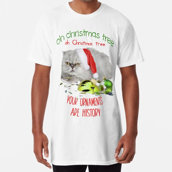 Funny Christmas Cat Oh Christmas Tree Long T-Shirt