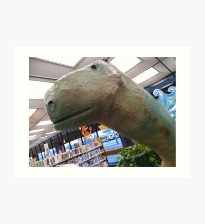 01-08-11 Library Dinosaur With True Grit Art Print