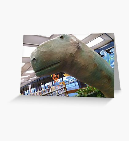 01-08-11 Library Dinosaur With True Grit Greeting Card